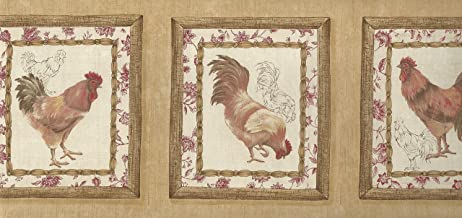 Wallpaper Border Waverly French Country Roosters Red Yellow Brown Beige