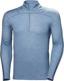 Helly Hansen Men's HH LIFA Merino Wool 1/2 Zip Lightweight 2-Layer Long-Sleeve Thermal Baselayer Top, 625 Blue Fog, Small