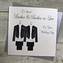 White Cotton Cards Code PD209bro Traje de diseño con Texto en inglés to A Special Brother and Brother-in-Law en inglés Tarjeta de Boda Gay Hecho A Mano