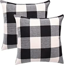 famibay Set of 2 Throw Pillow Covers, Square Tartan Cotton Linen Throw Pillow Case Cushion Cover 20 x 20 inch Invisible Zi...