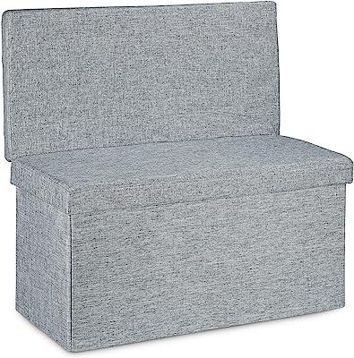Relaxdays 10020373 Tabouret de rangement pliant en lin avec dossier appui-dos coffre de stockage ottoman pouf H x l P: 73 x 76 x 38 cm repose-pieds banc de rangement avec couvercle, gris