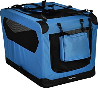 AmazonBasics Premium Folding Portable Soft Pet Dog Crate Carrier Kennel - 30 x 21 x 21 Inches, Blue