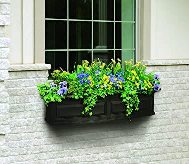 Mayne 4831-B Nantucket Polyethylene Window Box, 4', Black