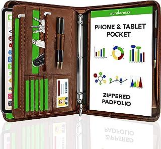 Wundermax Portfolio Padfolio 3 Three Ring Binder Document Organizer Vegan Leather Folder..