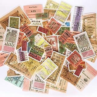 60PCS Japanese Washi Scrapbook Stickers, Doraking DIY Decoration Washi Stickers for Scrapbook, Tickets Decoration (Ticket Stub, 60PCS/Pack)