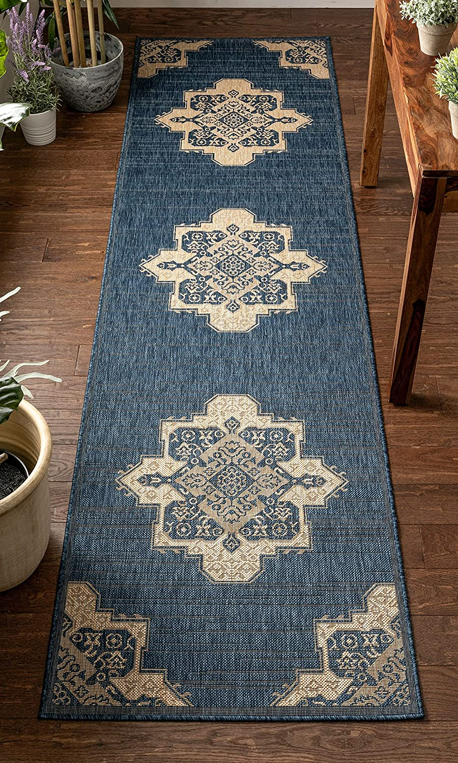 Well Woven Blom Blue Beige Indoor Outdoor Pile Orie online shopping Weave Flat Spring new work