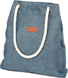 Bvani Große Damen Canvas Tote Bag mit Taschen und Strandgriffe - Shopper Tasche