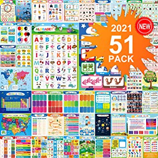51PCS Educational Preschool Posters For Toddlers Kindergarten Classroom Learning Decoration Kids Posters With 400 Glue Dot...