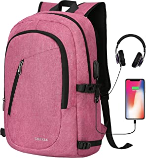 """Cafele Laptop Backpack, Anti Theft Water Resistant College Student Bookbag School Backpack with USB Port, Slim Lightweight Backpack, Carry On Daypack for Work Travel Campus Fit 15.6"""" Computer,Pink"""