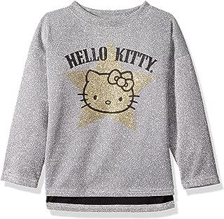 Hello Kitty Girls' Metallic Knit Sweatshirt With Glitter Print
