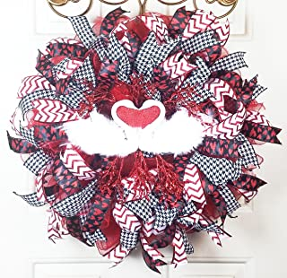 Handmade Valentine Swan Love Wreath - Swan Heart Valentine Wreath - Valentine Heart Wreath, Deco Mesh Valentine Swan Heart Wreath - Feathered Wreath