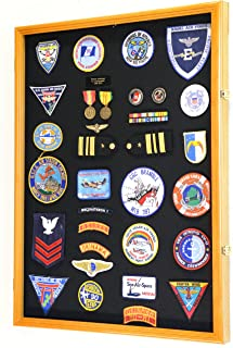 XL Military Medals/Pin/Patches/Badges/Ribbons/Insignia/Flag Display Case Cabinet Shadowbox (Oak Wood Finish)