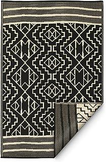 Best Fab Habitat Reversible Rugs | Indoor or Outdoor Use | Stain Resistant, Easy to Clean Weather Resistant Floor Mats | Kilimanjaro - Black, 3
