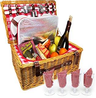 UPGRADED Picnic Basket 2019 Model - INSULATED 4 Person Wicker Hamper - Premium Set with Plates, Wine Glasses, Flatware and Napkins