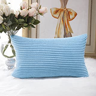 HOME BRILLIANT Oblong Rectangle Throw Pillow Cover Cushion Cover for Bench Outdoor Furniture, 12x 20 (30x50 cm), Turquoise