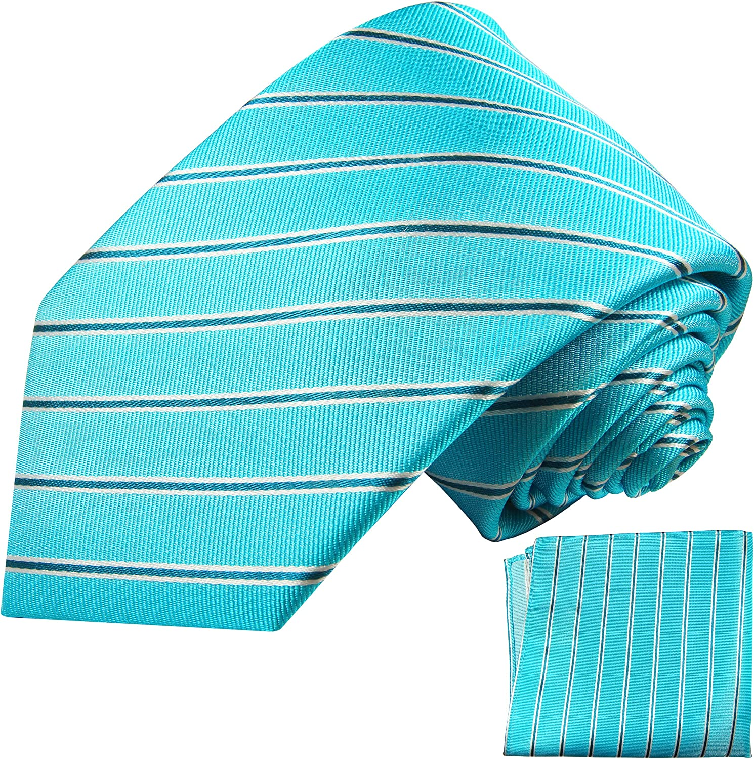 Turquoise Striped Silk Tie and Pocket Square Paul Malone Red Line