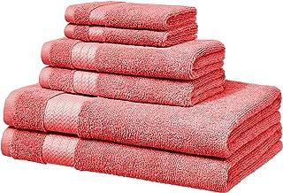 AmazonBasics Toallas de baño, juego de 6 piezas, rosado coral