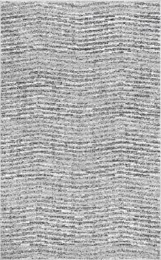 "nuLOOM Ripple Contemporary Sherill Area Rug, 6' 7"" x 9', Grey, Gray"