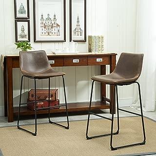Roundhill Furniture Lotusville Vintage PU Leather Barstools, Antique Brown, Set of 2
