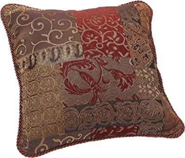 Croscill 2A0-590O0-6405/610 Galleria Square Pillow, 18-inch by 18-inch, Red