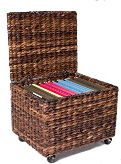 BIRDROCK HOME Seagrass Rolling File Cabinet - Storage - Home Office Decor - Abaca - Espresso
