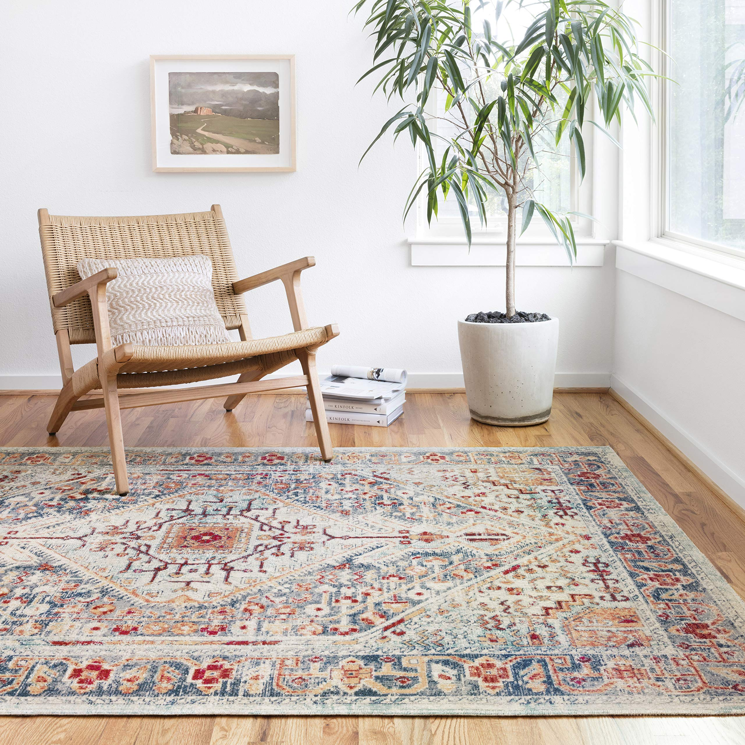Amazon Com Loloi Ii Nour Collection Distressed Persian Area Rug 7 9 X 10 6 Blue Fiesta Furniture Decor