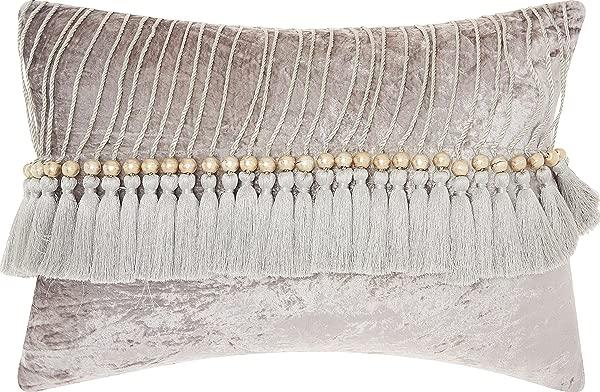 Nourison Mina Victory CS018 Life Styles Velvet Tassels Throw Pillow 14 X 20 Grey