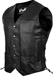 Leather Motorcycle Vest For Men Black Classic Vintage...