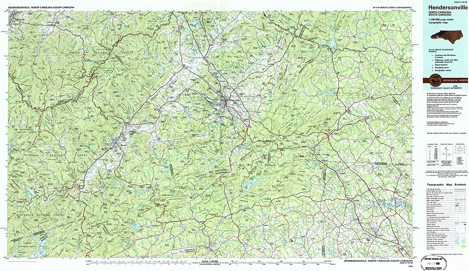 YellowMaps Hendersonville NC topo map 1:100000 Scale X Selling and selling 60 30 M Inventory cleanup selling sale