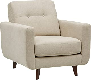 Amazon Brand – Rivet Sloane Mid-Century Modern Armchair with Tapered Legs, 32.7W, Shell