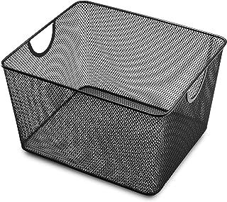 YBM HOME Household Wire Mesh Open Bin Shelf Storage Basket Organizer Black for Kitchen Pantry, Cabinet, Fruits, Vegetable...