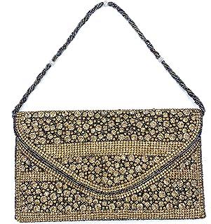 ADORA FASHION INDIAN HANDMADE CLUTCH BAG FOR WOMEN ADORA ACI 148 GOLD-MULTI COLOUR STONES
