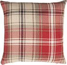 McAlister Textiles Angus Pillow Case | Red + White Tartan Check Decorative Woven Square Throw Scatter Sofa Cushion | Size - 24 x 24 Inches