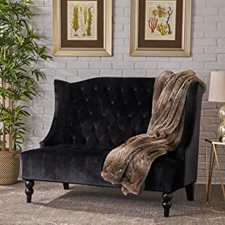 Christopher Knight Home Leah Traditional Tufted Winged Black Velvet Loveseat