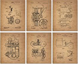 Ford Patent Prints - Set of 6 (8 inches x 10 inches) Photos Henry Ford Vintage Wall Decor