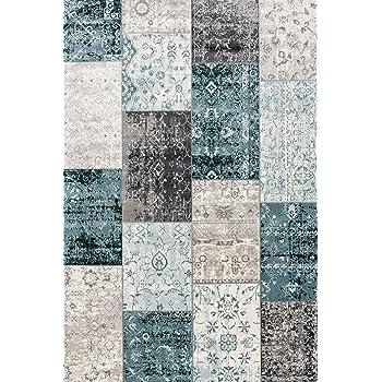 Tapis de Salon Moderne Disponible en diff/érentes Couleurs et Tailles LIFA LIVING Tapis Vintage Patchwork Gris, 80 x 150 Tapis /à Carreaux