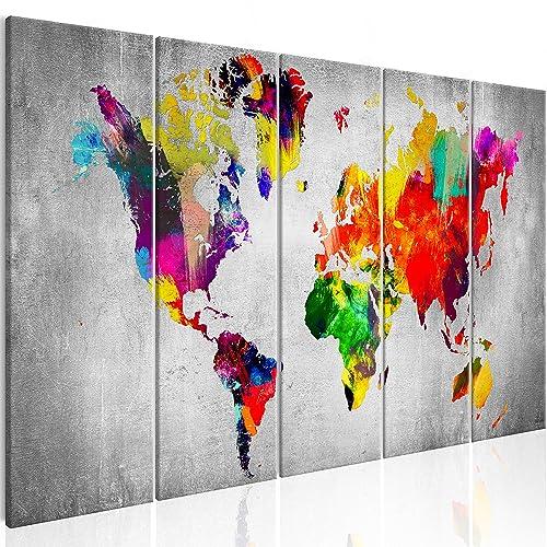 murando - Bilder Weltkarte 225x90 cm Vlies Leinwandbild 5 Teilig Kunstdruck modern Wandbilder XXL Wanddekoration Design Wand Bild - Abstrakt bunt Landkarte Reise k-A-0236-b-m