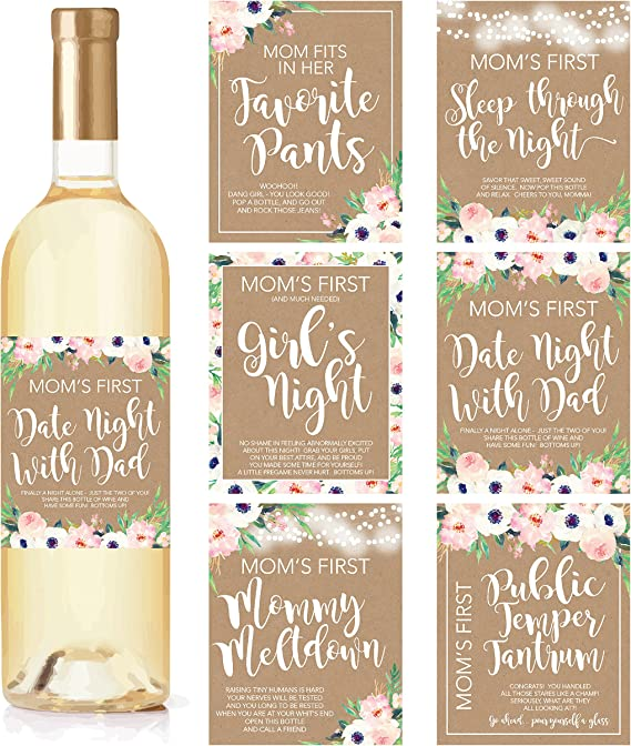 6 Mommy's First Milestone Stickers or Wine Labels