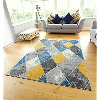 Modern Carved Diamonds Marble Design Small Large Ochre Mustard Navy Blue Silver Grey Thick Floor Long Carpet Rugs 80x150cm Amazon Co Uk Kitchen Home