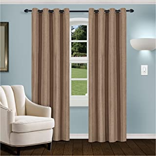 Superior Linen Textured Blackout Curtain Set of 2, Thermal Insulated Panel Pair with Grommet Top Header, Classic Natural L...