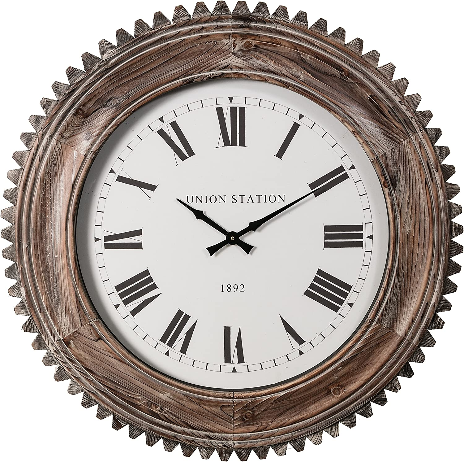 Kieragrace HO60207-7 Juniper Wood Wall Clock-30.5  Decorative Roman Numeral Brown