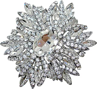 "TTjewelry 3.82"" Gorgeous Flower Large Rhinestone Crystal Brooch Pin"