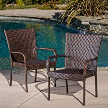 Christopher Knight Home 278771 Stackable Outdoor Contemporary Wicker Stacking Chairs (Set of 2), Multi-Brown