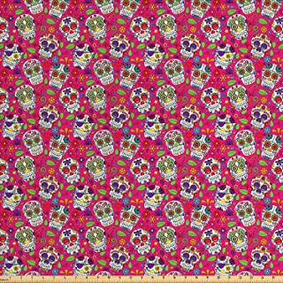Lunarable Skull Fabric by The Yard, Day of The Dead Sugar Skull Designs with Vibrant Colors and Floral Elements Abstract, Decorative Fabric for Upholstery and Home Accents, 1 Yard, Magenta Green
