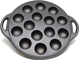 "Kasian House Cast Iron Griddle for Making Poffertjes Pancake Balls, Takoyaki, and Thai Kanom Krok and Other Desserts, 1.5"" DIAMETER Half Sphere Molds, Pre-Seasoned"