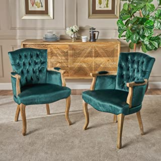 Christopher Knight Home 303670 Trista Traditional Teal Velvet Dining Chair (Set of 2)