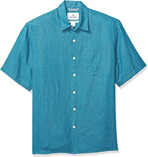 Marchio Amazon - 28 Palms, camicia da uomo a maniche corte, 100% lino, vestibilità rilassata