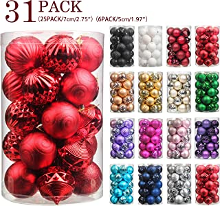 Jusdreen 31pcs Christmas Balls Ornaments for Xmas Tree Shatterproof Christmas Tree Hanging Balls Decoration for Holiday Party Baubles Set with Hang Rope 1.97