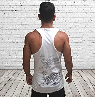 Men's White Tank Top Sleeveless Vest, Dragon Printed, Training Sports Everyday Wear for Men
