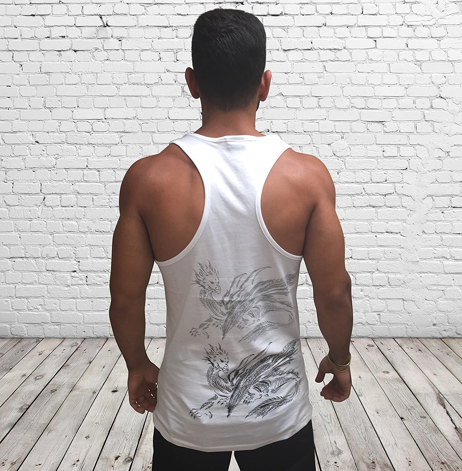 Men's White Tank Top Max 58% OFF Sleeveless Training S Printed Dragon Vest Product